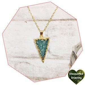 Teal Crystal Triangle Necklace